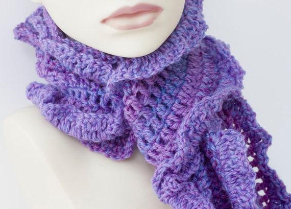 Purple Scarf, Wool Ruffled Scarf, Crocheted Women's Ruffle Scarf, Shades of Purple