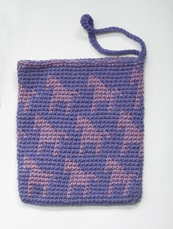 Purple Pink Horse Purse Crocheted Tote Bag Childs Purse