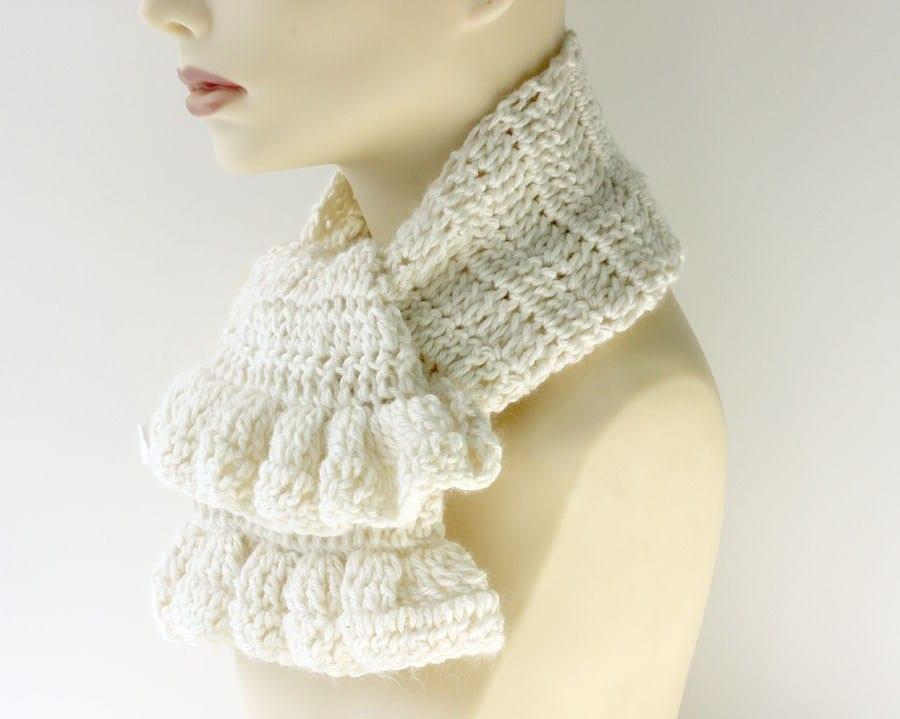 White Crochet Scarf Ruffled Scarf Angora Bamboo by beadedwire