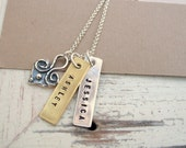 Hand Stamped Jewelry ... Heart Strings ... Personalized Jewelry ... Mothers Necklace