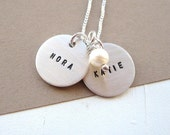 Double Blessings ...  Custom Hand Stamped Mother's Necklace ... Mommy Jewelry ... Personalized Mothers Necklace