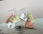 Hand Stamped Earrings ...Doggie Tales ... Personalized Jewelry ... Hand Stamped Metalwork Earrings