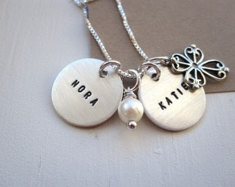 Mothers Necklace with Cross ... Hand Stamped Jewelry ... Mother's Jewelry, Charm Necklace ... Family Necklace ... Childrens Names