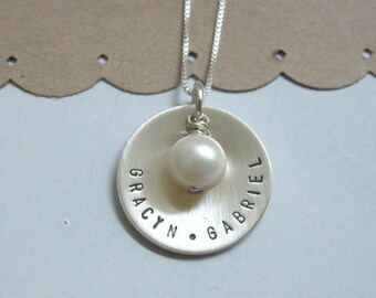 Personalized Mothers Necklace Hand Stamped Necklace Sterling Silver  ... Name Discs .. Mommy Jewelry..  Personalized Necklace