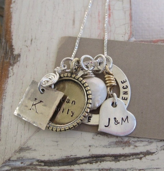 The Michele ... Family Custom Hand Stamped Necklace ... Mothers Necklace ... Personalized Jewelry ... Metalwork