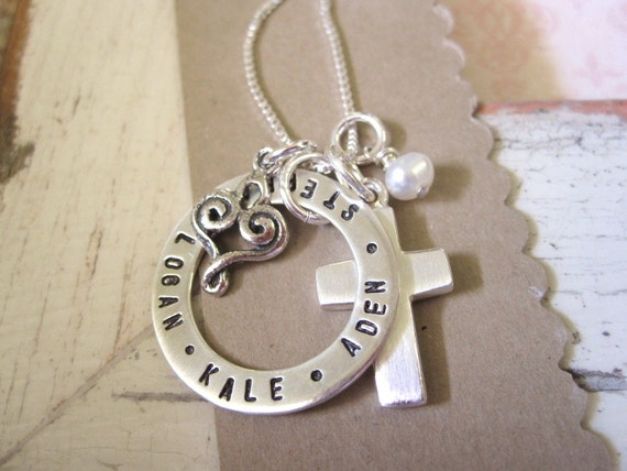 Hand Stamped Necklace...Circle of Love... Personalized Mothers Necklace ... Sterling Silver ... Personalized Jewelry ... Mothers Jewelry