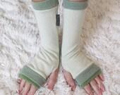 Peppermint Fancy CASHMERE Armwarmers Seafoam Green Arm Warmer WristWarmer Mitten Cozy Cuff Sweater Gift