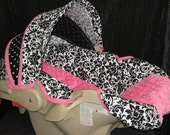 Black and White Damask, and Hot Pink Minky  Graco Snugride Carseat  Cover and Canopy