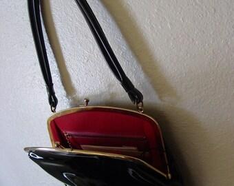 Black Patent Leather Jana Bag, Black Patent Leather Hand Bag, Black Purse, Black Jana Bag hand Bag