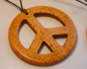 Let the Sunshine In      Magnesite PEACE sign Pendant Necklace