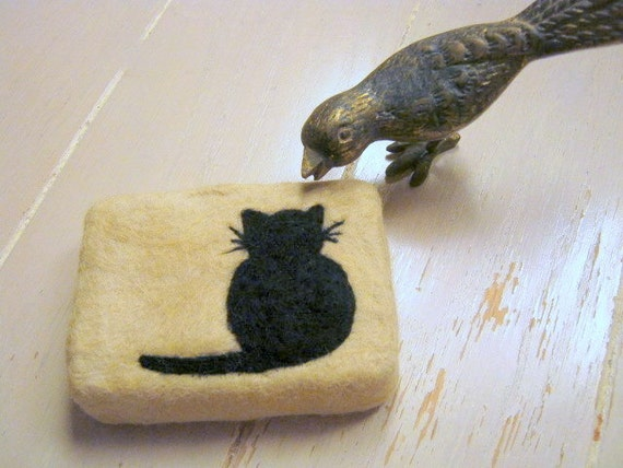 Needle Felted Cat Silhouette Soap Choose Your Color and Scent