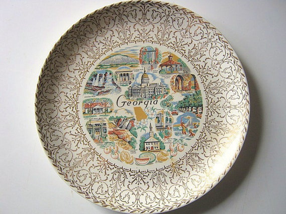 """10"""" State of Georgia Historical Decorative Plate White and Gold Trim"""