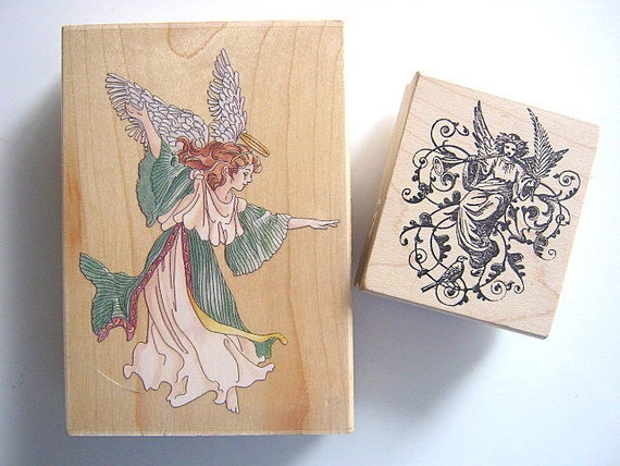 Dancing and Horn Playing Angel Wooden Rubber Stamp Set of Two