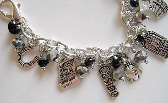 Lucky Casino Bling Beaded Charm Bracelet
