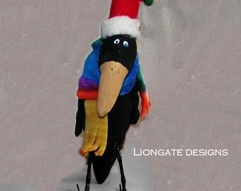 Crow, Primitive Crow, Christmas Crow, Black Crow, Ho Ho Crow