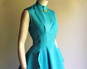 SALE...50s Princess Silhouette Dress, Turquoise Fabric, Small