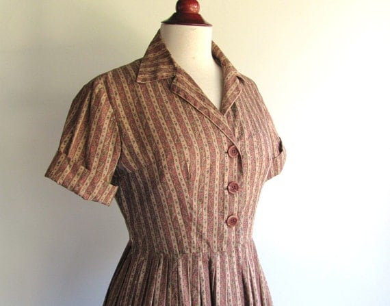 50s Brown Country Print, Mad Men Style, Vintage Shirt Dress, Full Skirt, Medium size 10 or size 12