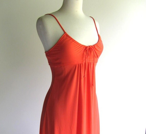 70s Maxi Coral Dress with Skinny Straps, Medium size