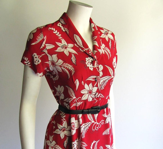 80s does 40s Style House Dress by Loco Lindo, Vintage look Red Tropical Print, Art Deco, Swing Dance style, medium