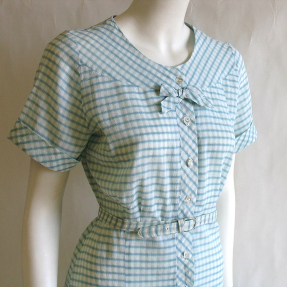 Vintage 1950s House Dress, blue n white Cotton Check, medium