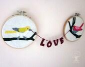 Custom Colorful Love Birds Wall Art