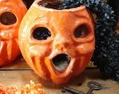 Vintage, Paper Mache, Halloween, Jack O Lantern Pumpkin, Number 2
