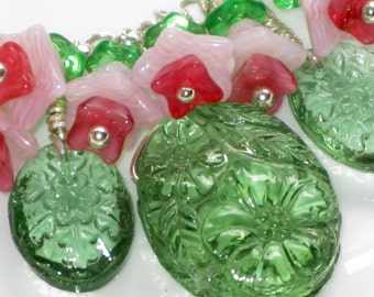Green Vintage German Glass Bead Necklace