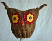 Ollie Owl Hat - Toddler Sized, Light Brown with Red and Yellow Eyes