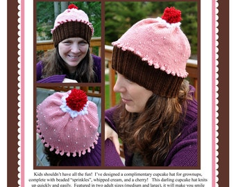 Adult Beaded Cupcake Hat Knitting Pattern PDF