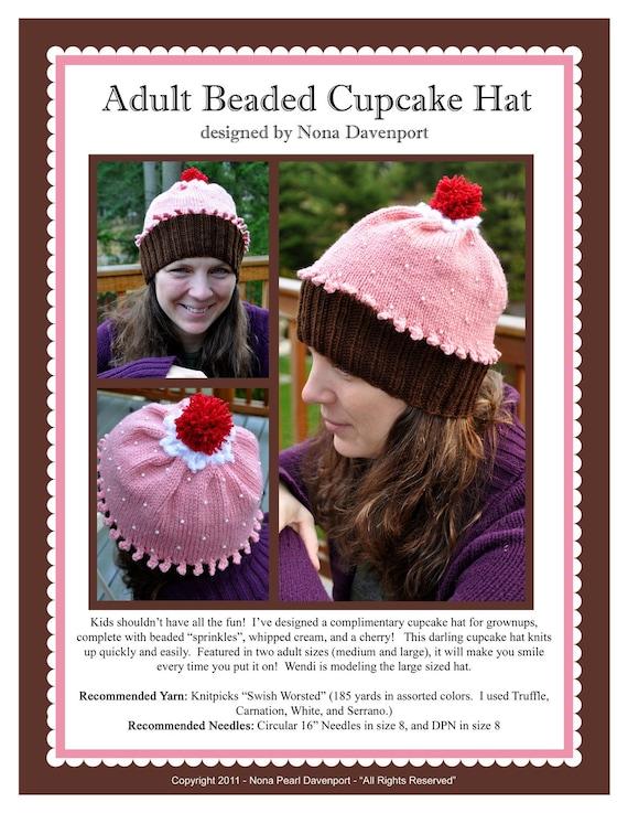 Adult Beaded Cupcake Hat Knitting Pattern PDF
