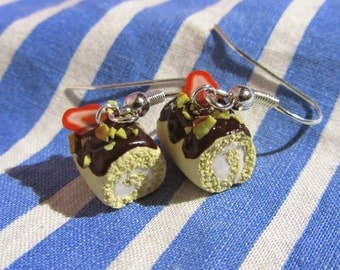 Jelly Roll Cake Slice Earrings - Realistic Miniature Polymer Clay Food Charms