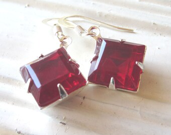 Crimson Red Vintage Style Rhinestone Earrings Classic Handcrafted