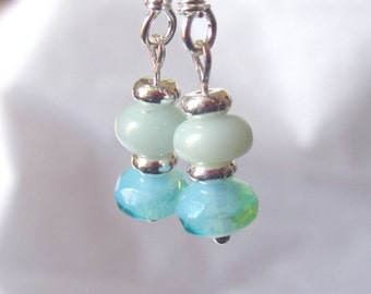 SALE Blue Amazonite and Czech Glass Classic Hancrafted Earrings