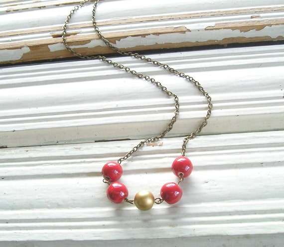 Long Necklace Red and Gold Dangle Necklace Layering Layered Necklace