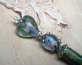 Lampwork Hearts and Flowers Stardust Faerie Wand - Reserved for Brightflame