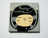 Hug me mini painting on canvas MAde To Order