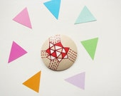 Red Geometric Triangles Hand painted wooden brooch