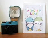 "Hipster LOVE 5""x7"" print of original ink illustration"