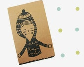 Screen printed Moleskine cahier hand printed notebook  -Type 2- HUG ME