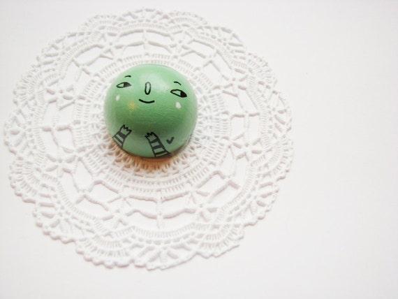 HAND PAINTED  wooden Brooch green mint Little Heart