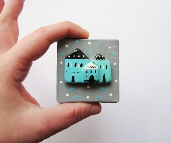 Mixed Media canvas painting , Wall Art decoration in grey and turquoise  - The Village