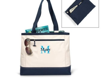 Personalized Tote Bag - large - Monogrammed - Embroidered - Bridesmaid Gift - navy or black