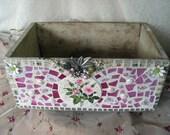 Cottage Chic Mosaic Organizer Storage Vintage Apricot Crate
