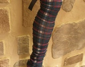 Womens, Girls, Long Cute Plaid Stocking Socks, Thigh Highs, Leg Warmers, with Removeable Bow (Last Pair in ths Color Fabric)