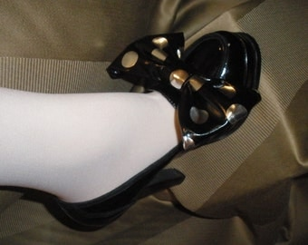 Adorable Black Patent Leather with Silver Polka Dot High Heel Shoe Wrap Accessories Not Shoe Clips
