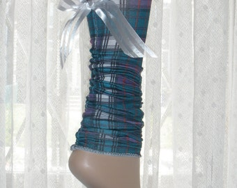 Adorable School Girl Footless Short Scrunchie Socks with Cute White Bow on Back