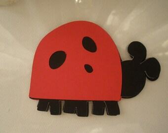 Cute Die Cut Red and Black Lady Bug ( Set of 6 )