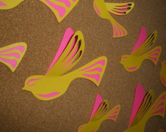 20 Beautiful Yellow & Hot Pink  Birds, 3D,Art, Paper, Wall Decor, Wall Decal, Teenagers Room, Girl Room, Nursery, Wedding, Baby Shower