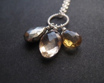 Fools Rush In ... Champagne Citrine, Whiskey Citrine, Pyrite and Sterling Silver Necklace