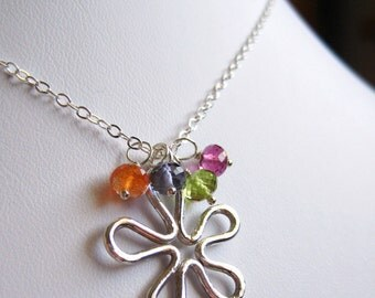 Flower Garden ... Fine Silver Flower, Rubilite Garnet, Peridot, Iolite, Oregon Sunstone and Sterling Silver Necklace
